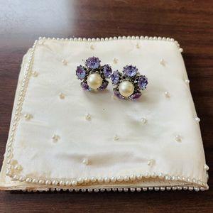 ♻️🌿Vintage | Vogue Purple Rhinestone Earrings